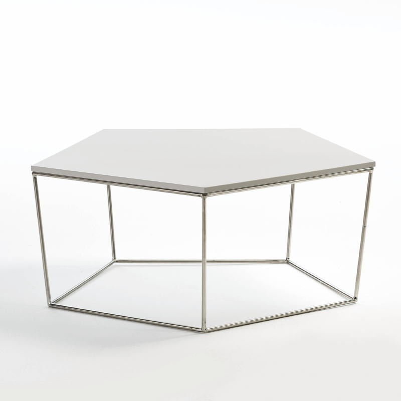 Coffee Table 95X90X38 Steel Mdf White - image 53921