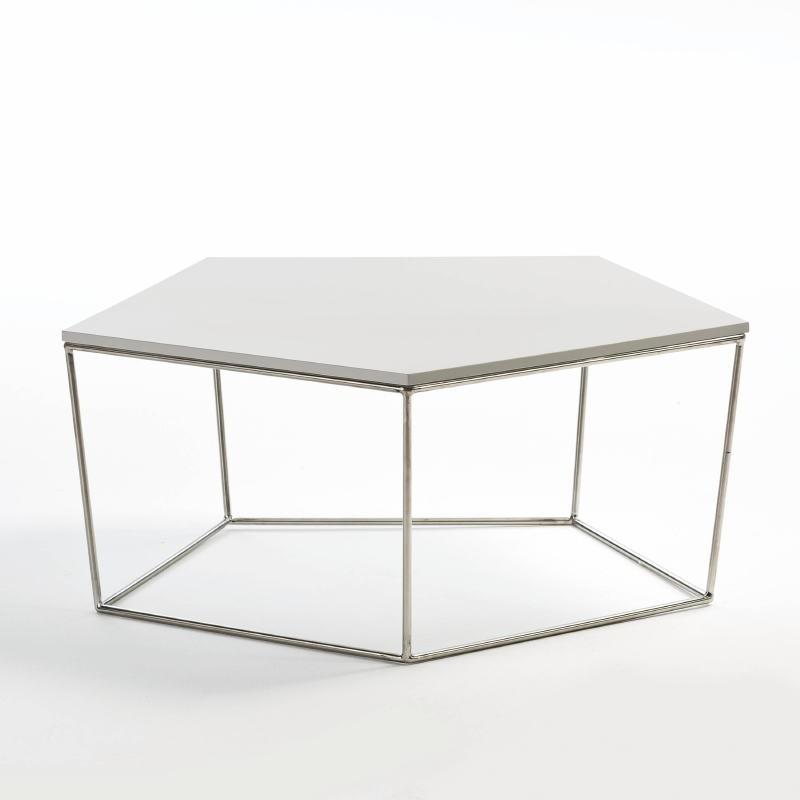 Table basse 95x90x38 Acier MDF Blanc - image 53921