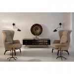 Tv Furniture 160X45X50 Metal Gold Wood Black