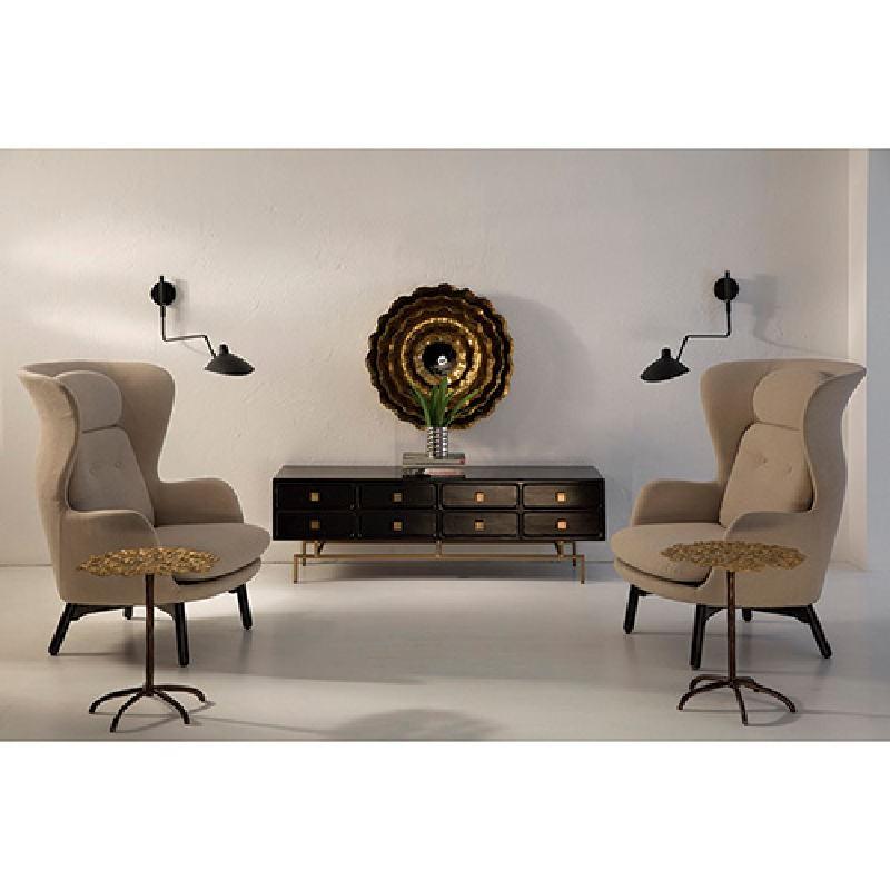 Tv Furniture 160X45X50 Metal Gold Wood Black - image 53925