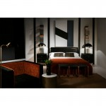 Bedside Table 2 Drawers 52X44X66 Metal Gold Wood Black