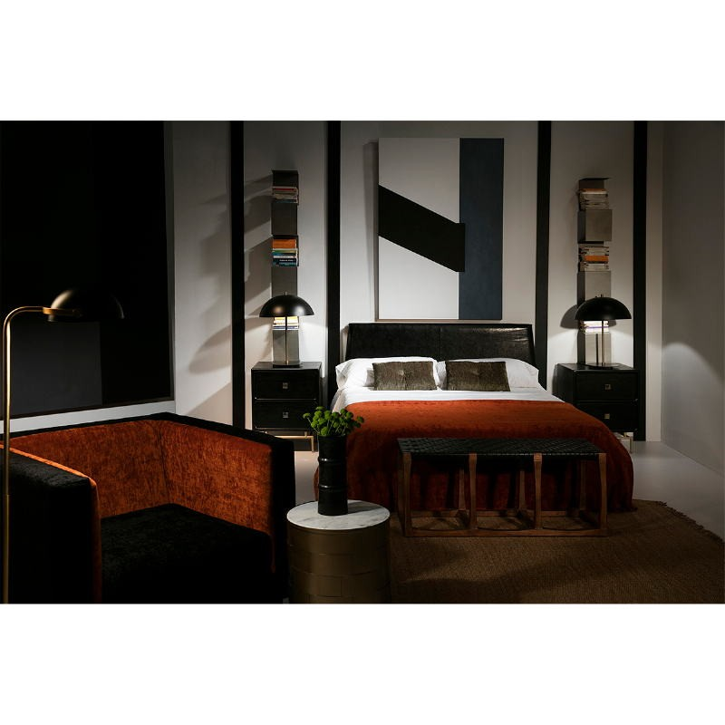 Bedside Table 2 Drawers 52X44X66 Metal Gold Wood Black - image 53928