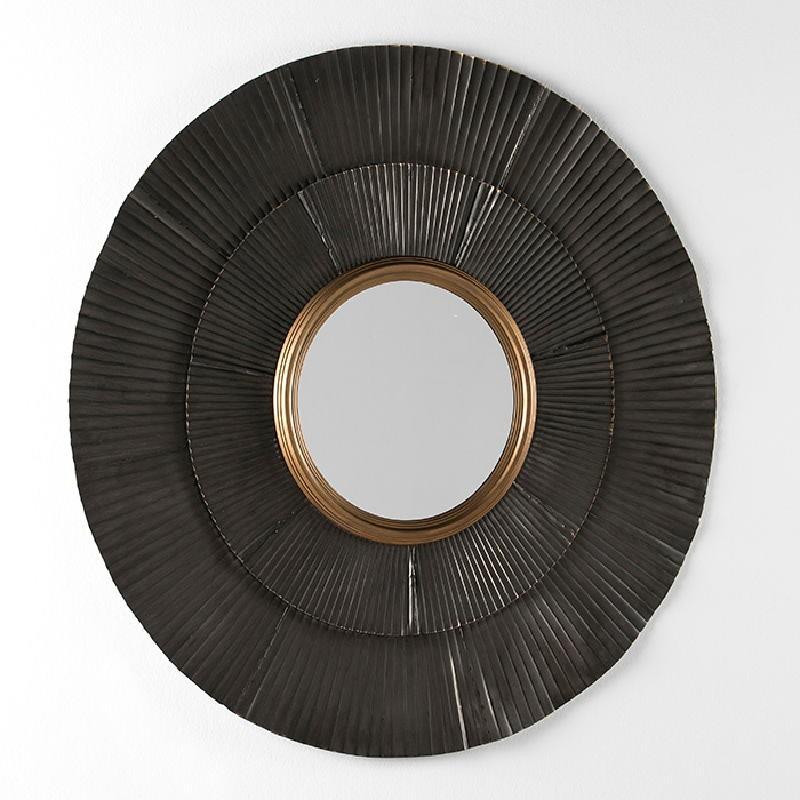 Miroir 105x3x105 Métal Brun Or