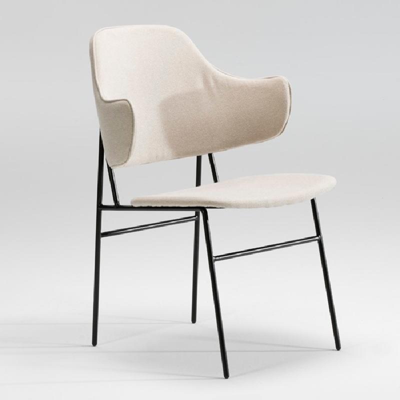 Chair 52X58X78 Metal Black Fabric Beige - image 53944
