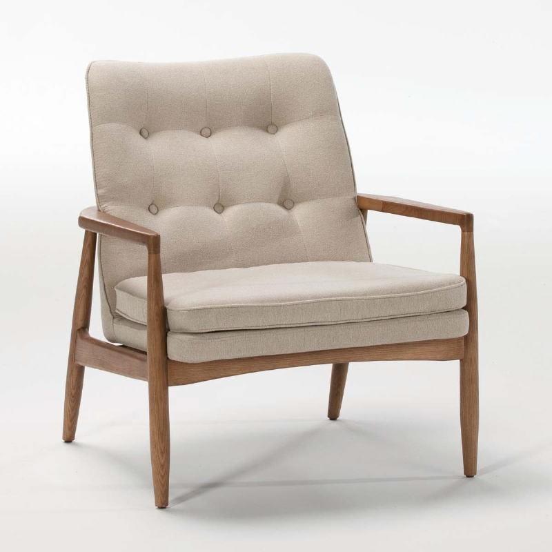 Armchair 82X73X83 Wood Brown Fabric Beige