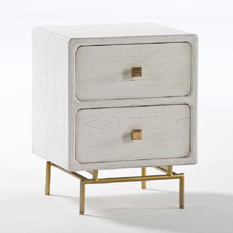 Bedside Table 2 Drawers 52X44X66 Metal Gold Wood White - image 53955