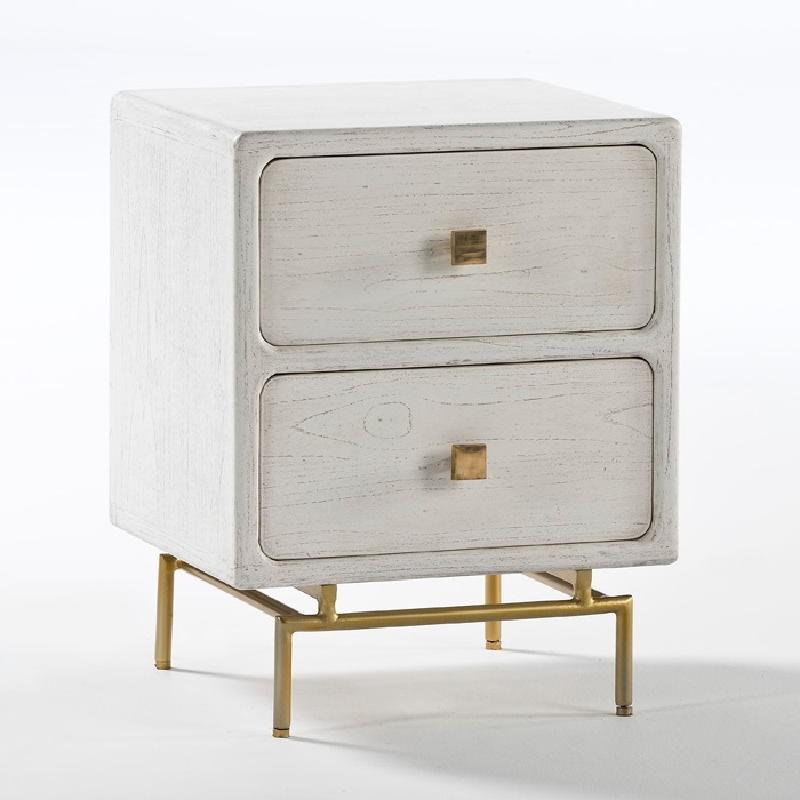 Table de chevet 2 tiroirs 52x44x66 Métal Or Bois Blanc Blanchi
