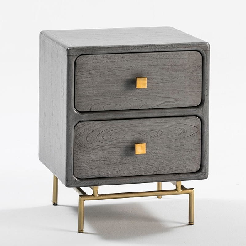 Bedside Table 2 Drawers 52X44X66 Metal Gold Wood Grey - image 53956