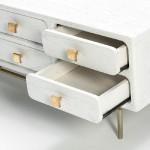 Mueble Tv 160X45X50 Metal Oro Madera Blanco 8 Cajones