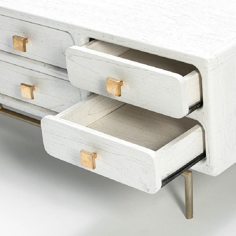 Mueble Tv 160X45X50 Metal Oro Madera Blanco 8 Cajones - image 53960