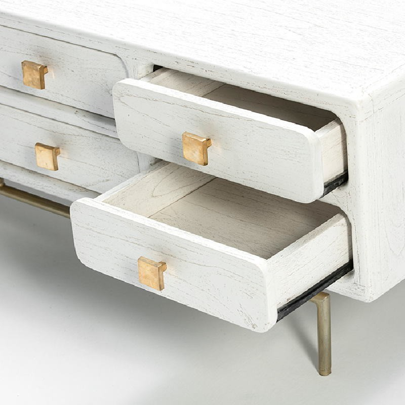 Tv Furniture 160X45X50 Metal Gold Wood White - image 53960
