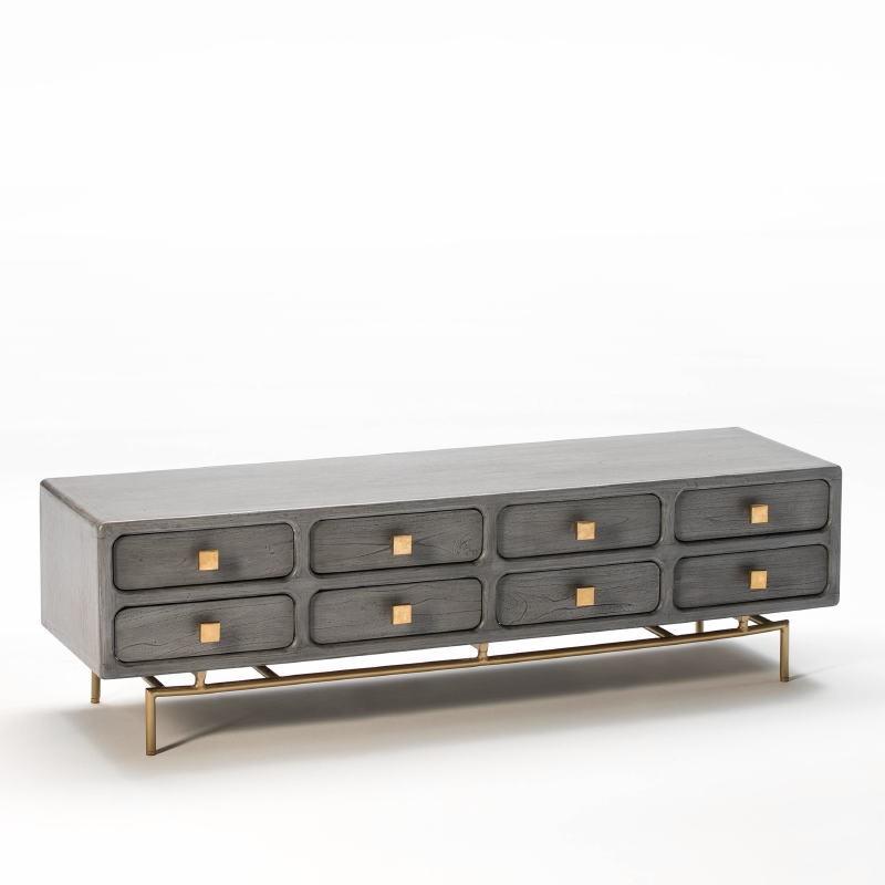 Mueble Tv 160X45X50 Metal Oro Madera Gris 8 Cajones - image 53962