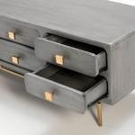 Mueble Tv 160X45X50 Metal Oro Madera Gris 8 Cajones