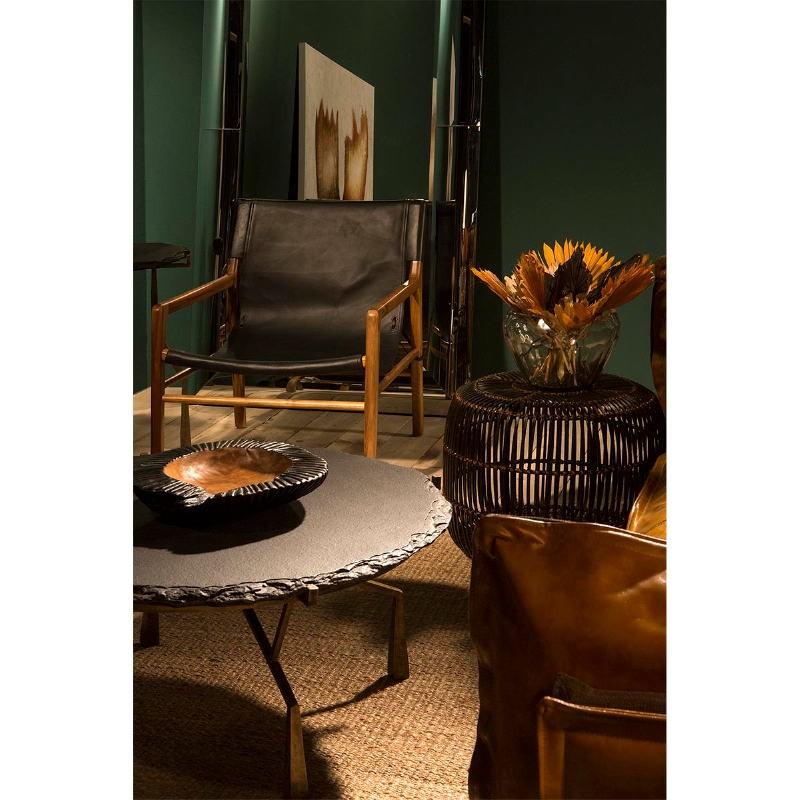 Armchair 66X77X78 Teak Wood Natural Leather Black - image 53971