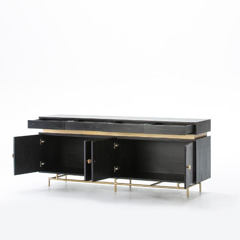 Buffet 4 portes 4 tiroirs 180x45x75 Bois Noir Métal Or - image 53983