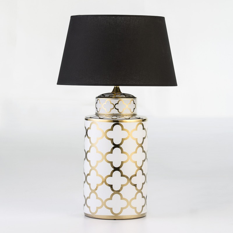 Table Lamp Without Lampshade 23X23X51 Ceramic White Golden