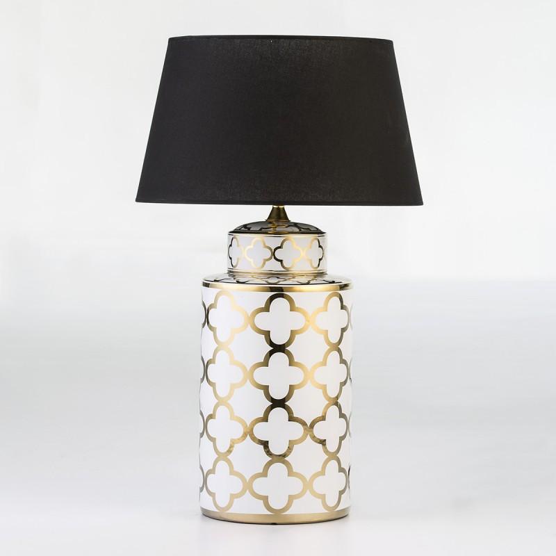Lampe de Table sans abat-jour 23x23x51 Céramique Blanc Doré