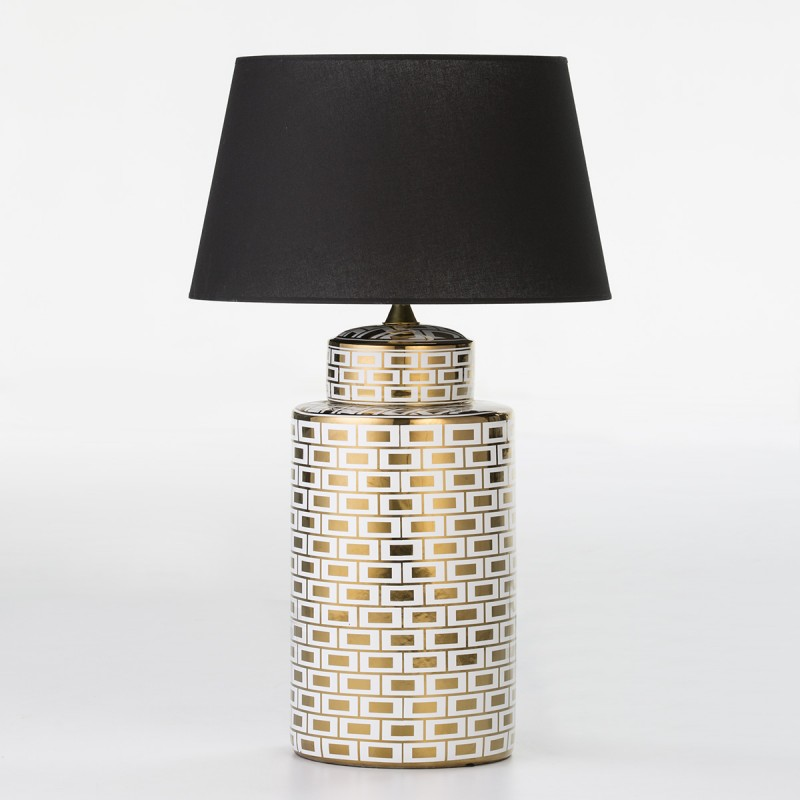 Table Lamp Without Lampshade 23X23X51 Ceramic White Golden Model 2