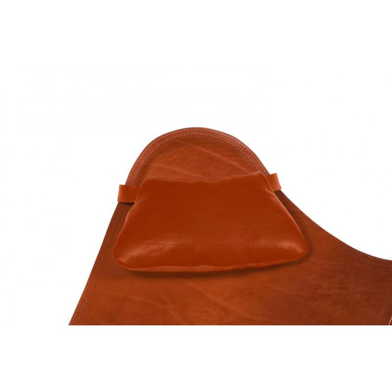 BUTTERFLY Sillon de cuero italiano con cabezal (marrón)
