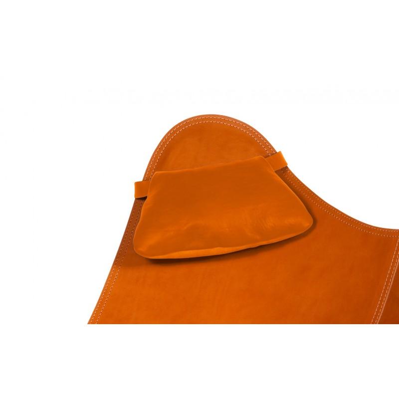 Un reposacabezas extraíble para el sillón de cuero italiano BUTTERFLY (marrón dorado)