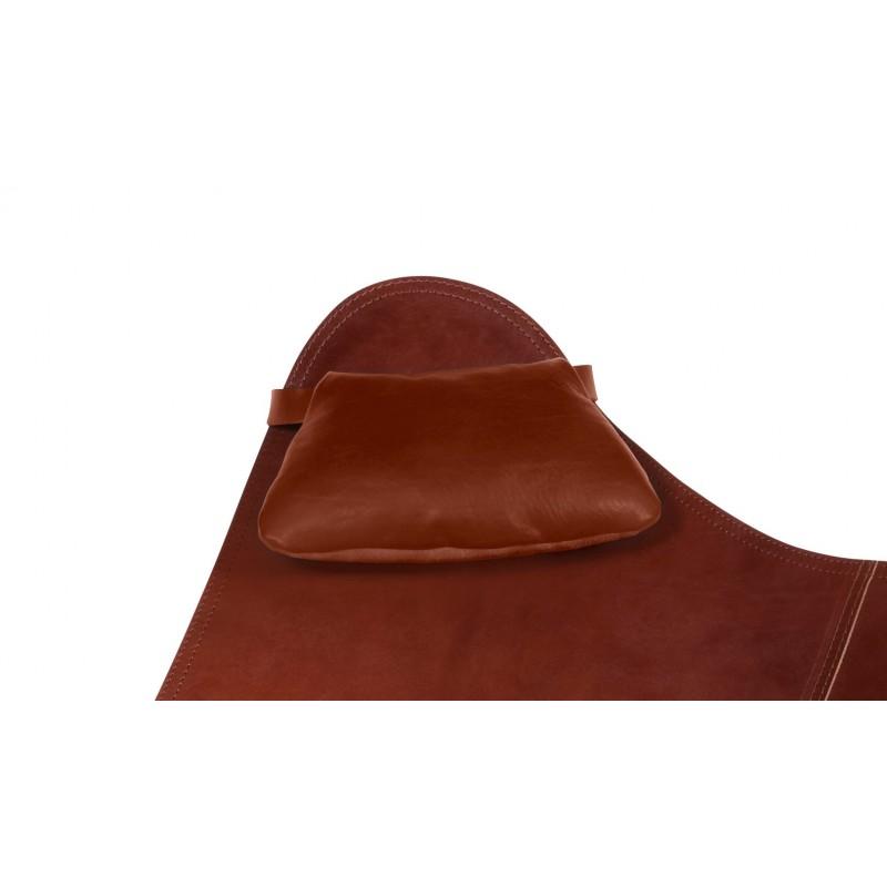 Têtière amovible pour fauteuil en cuir italien BUTTERFLY (marron chêne)