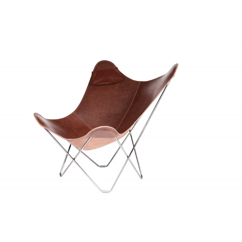 A removable headrest for Italian leather armchair BUTTERFLY (oak brown) - image 54012