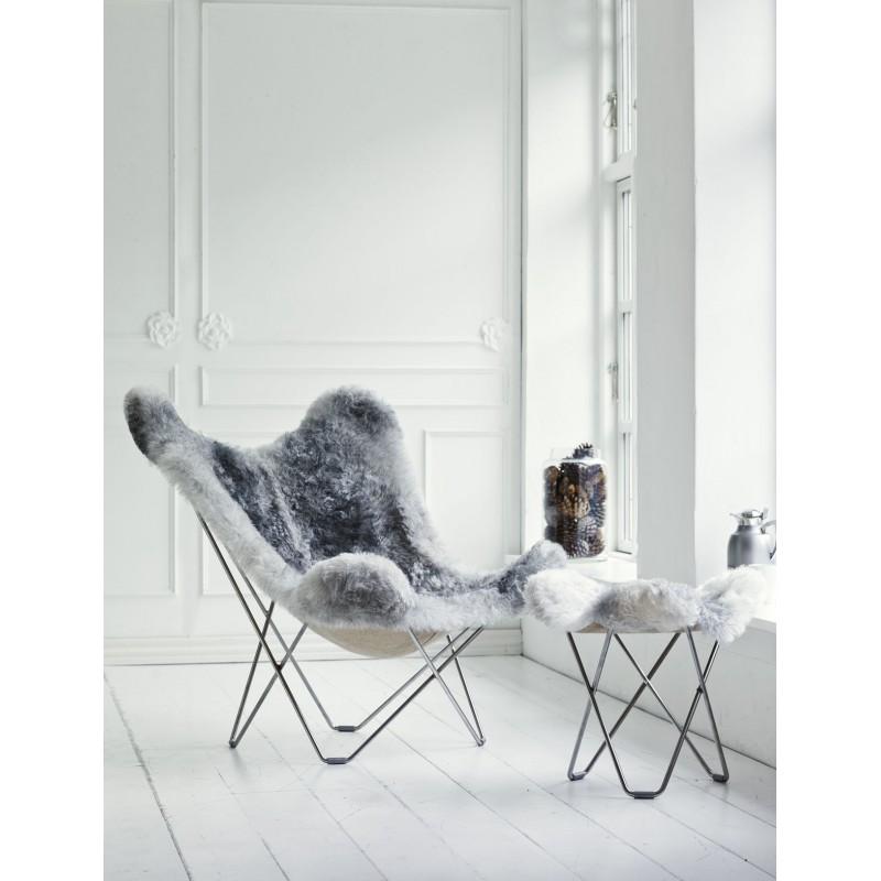Repose pied en peau de mouton, poils courts FLYING GOOSE ICELAND pied chromé (blanc, gris) - image 54026
