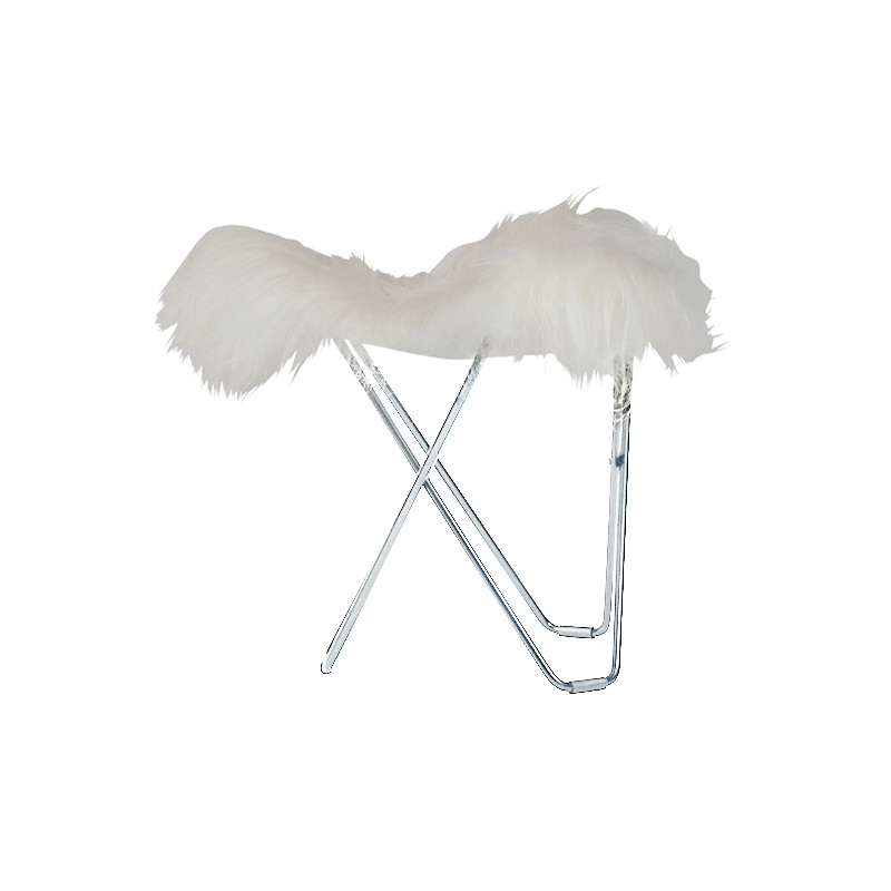 Sheepskin foot rests, short hairs FLYING GOOSE ICELAND chrome foot (white)