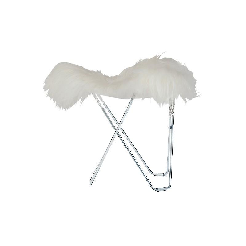 Repose pied en peau de mouton, poils courts FLYING GOOSE ICELAND pied chromé (blanc)