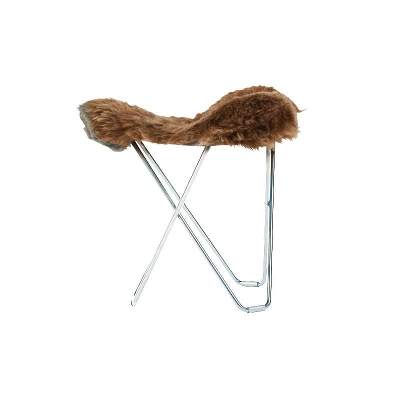 Poggiapuò di pelle di pecora, peli corti FLYING GOOSE ISLANDA piede cromato (marrone) - image 54038