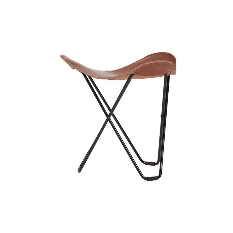Repose pied en cuir italien FLYING GOOSE PAMPA pied métal noir (marron chêne) - image 54054