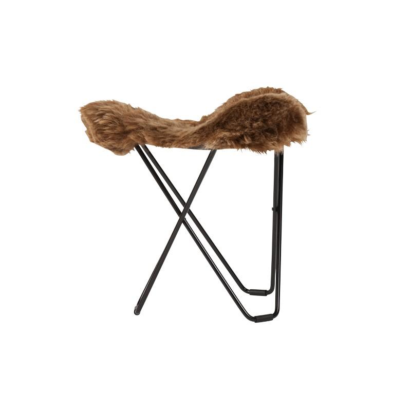 Sheepskin foot rests, short hairs FLYING GOOSE ICELAND black metal foot (brown)