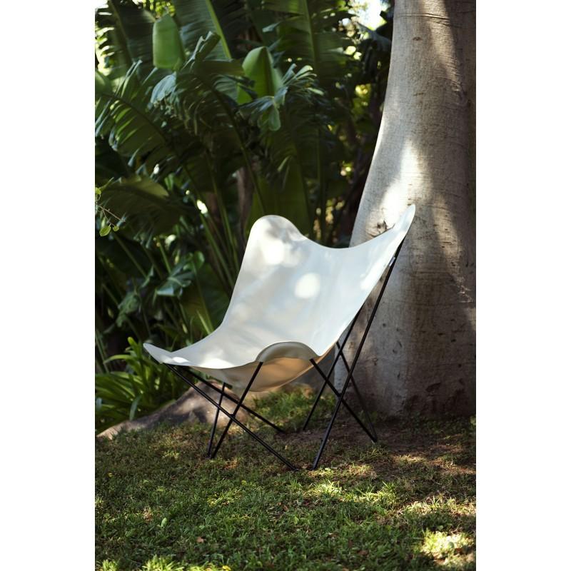 Fauteuil papillon de jardin en tissu Sumbrella SUNSHINE MARIPOSA pied métal noir (blanc, ivoire) - image 54075
