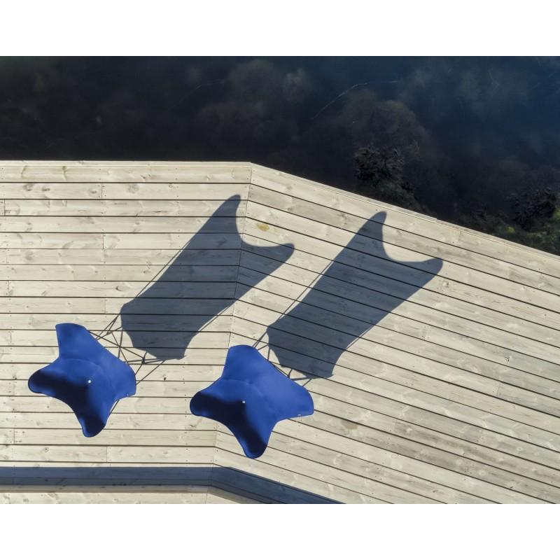 Fauteuil papillon de jardin en tissu Sumbrella SUNSHINE MARIPOSA pied métal noir (bleu atlantique) - image 54108