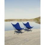 Garten Schmetterling Sessel aus Stoff Sumbrella SUNSHINE MARIPOSA Fuß Schwarz Metall (atlantisches Blau)
