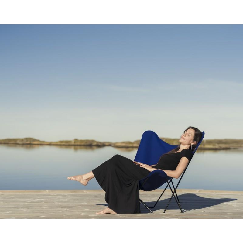 Garten Schmetterling Sessel aus Stoff Sumbrella SUNSHINE MARIPOSA Fuß Schwarz Metall (atlantisches Blau) - image 54114