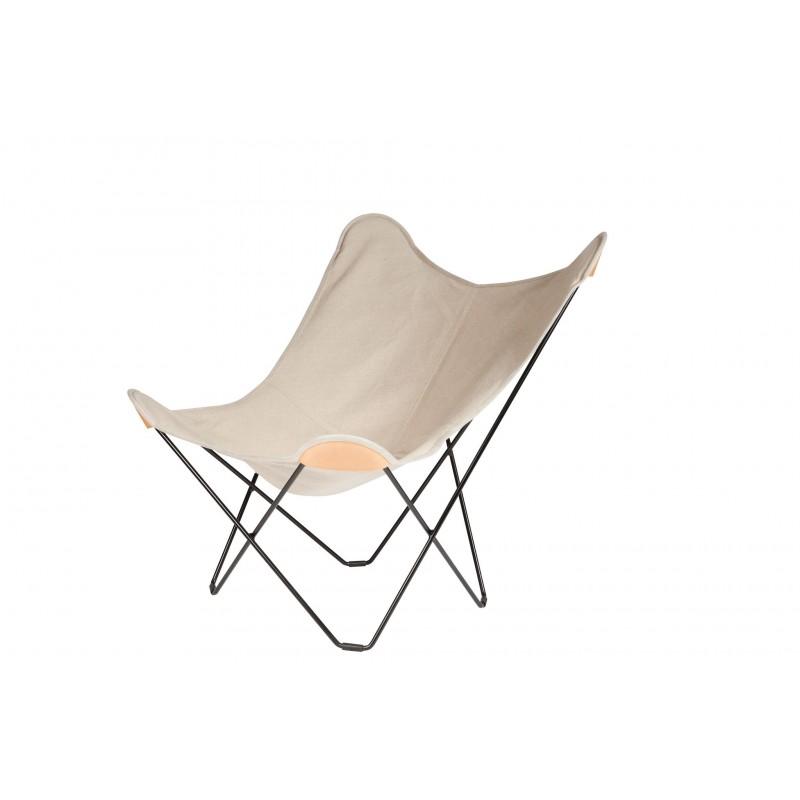 Schmetterling Sessel aus Hanf CANVAS MARIPOSA Fuß Schwarz Metall (natürlich)
