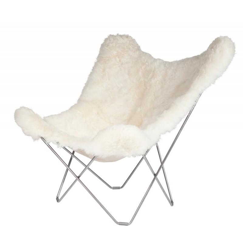 Fauteuil papillon en peau de mouton, poils courts ICELAND MARIPOSA pied chromé (blanc)