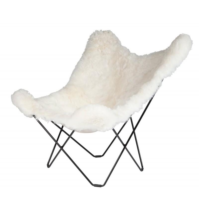 Fauteuil papillon en peau de mouton, poils courts ICELAND MARIPOSA pied métal noir (blanc)