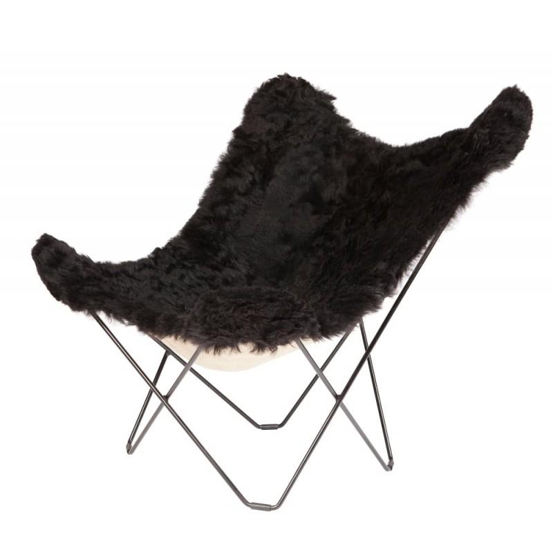 Fauteuil papillon en peau de mouton, poils courts ICELAND MARIPOSA pied métal noir (noir) - image 54178