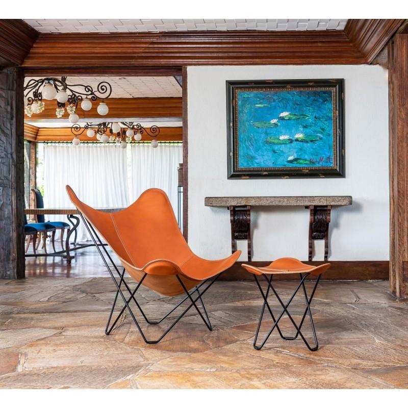 Schmetterling Sessel aus italienischem Leder PAMPA MARIPOSA Fuß Schwarz Metall (braun gold) - image 54209