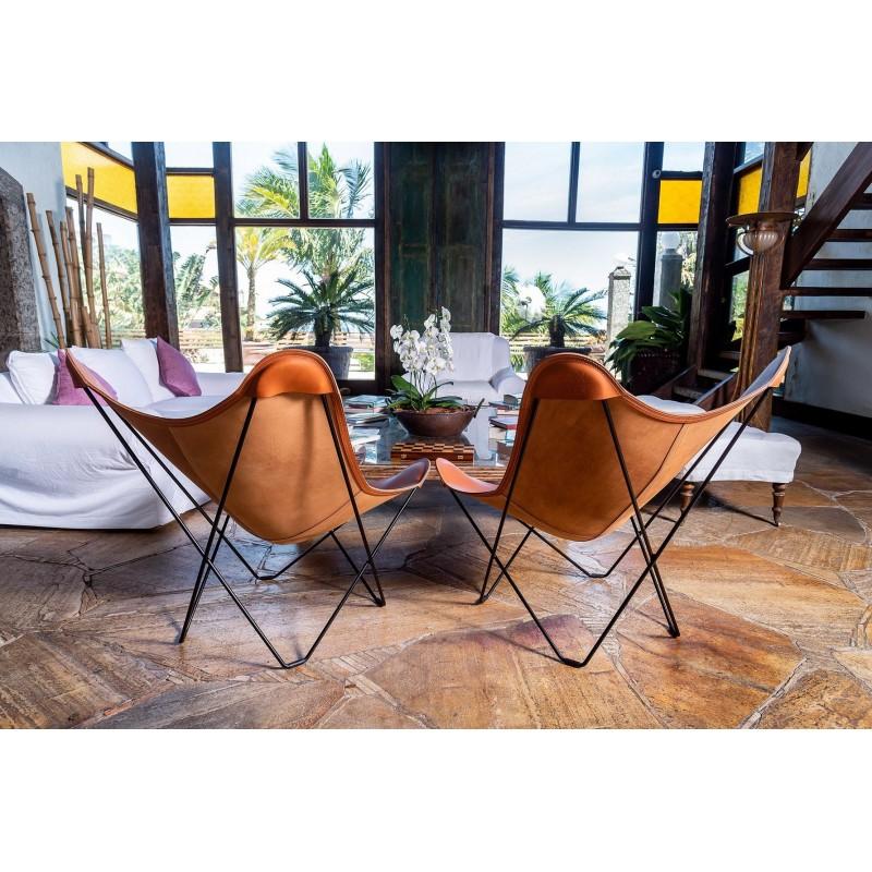 Schmetterling Sessel aus italienischem Leder PAMPA MARIPOSA Fuß Schwarz Metall (braun gold) - image 54210