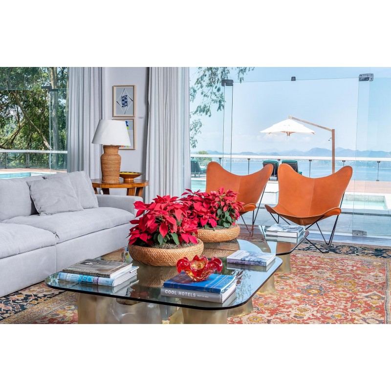 Schmetterling Sessel aus italienischem Leder PAMPA MARIPOSA Fuß Schwarz Metall (braun gold) - image 54213
