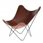 Italian leather butterfly chair PAMPA MARIPOSA black metal foot (chocolate brown)