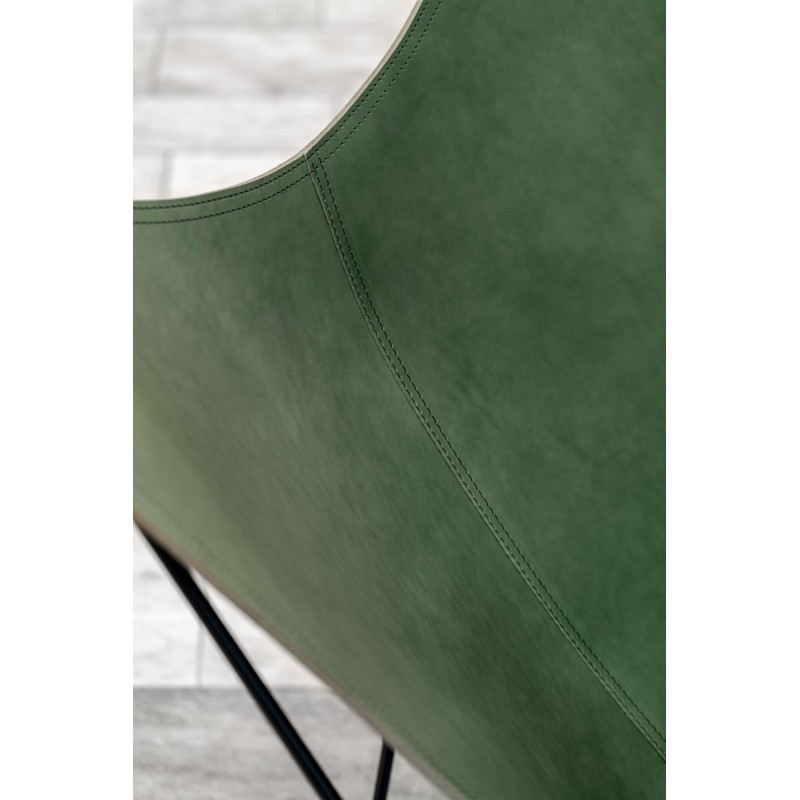 Fauteuil papillon en cuir italien PAMPA MARIPOSA pied métal noir (vert) - image 54270
