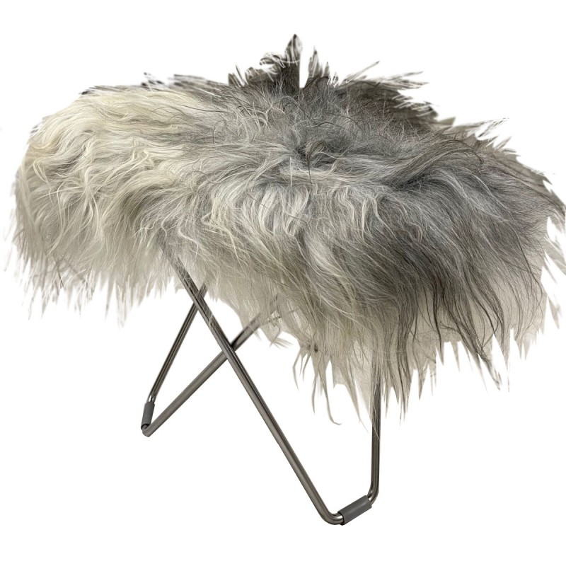 Repose pied en peau de mouton, poils longs FLYING GOOSE ICELAND pied chromé (blanc, gris) - image 54288